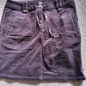 Calvin Klein jeans skirt size 30 button 41cm waist LtoR brown zip suede corduroy